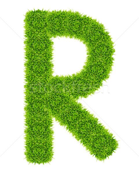 Zöld fű r betű izolált iskola művészet levél Stock fotó © tungphoto