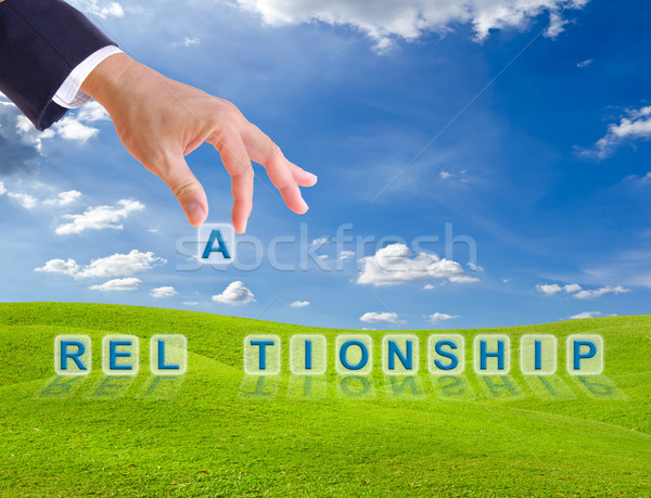 business man hand and relationship word buttons Stock photo © tungphoto
