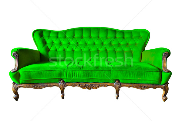 vintage green luxury armchair isolated with clipping path Stock photo © tungphoto