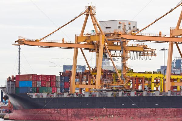 Container vracht werken kraan stad zee Stockfoto © tungphoto