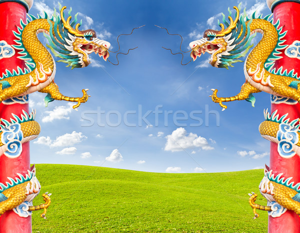 dragon statue against blue sky Stock photo © tungphoto