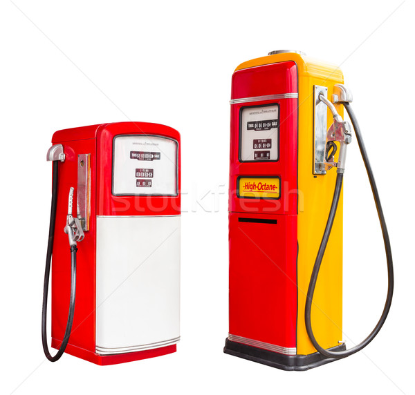 vintage gasoline fuel pump dispenser isolated with clipping path Stock photo © tungphoto