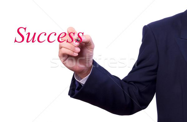 business man hand writing success word Stock photo © tungphoto