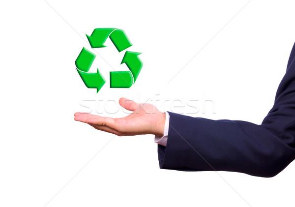 ストックフォト: ビジネスマン · 手 · リサイクル · にログイン · 緑 · 世界