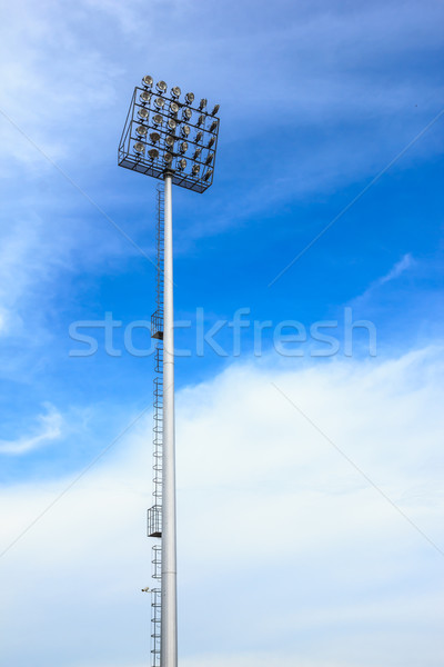 big spotlight tower at sport arena stadium Stock photo © tungphoto