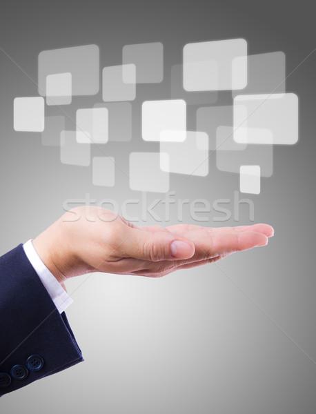 Knoppen hand computer sleutel scherm software Stockfoto © tungphoto