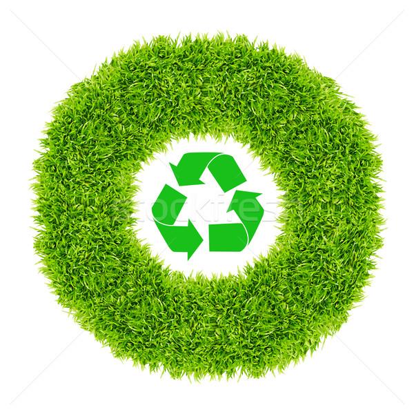 újrahasznosít felirat zöld fű kör fű tárgy Stock fotó © tungphoto