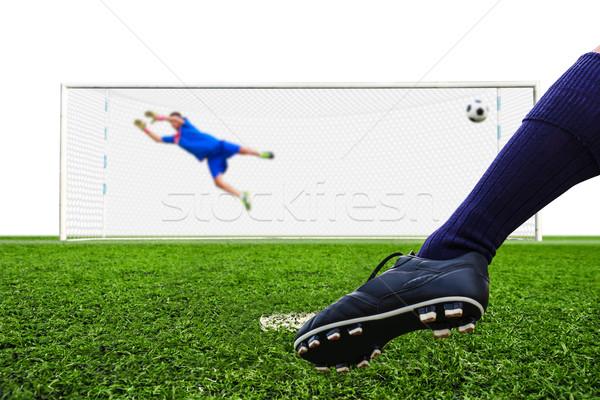 Pie disparo balón de fútbol objetivo pena deporte Foto stock © tungphoto