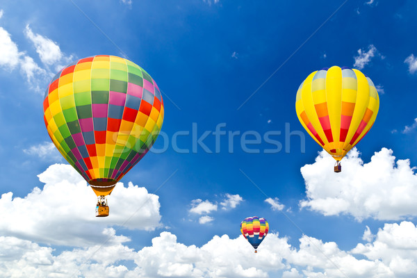 colorful hot air balloon against blue sky Stock photo © tungphoto