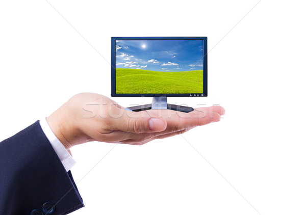 Flatscreen monitor hand geïsoleerd televisie lichaam Stockfoto © tungphoto