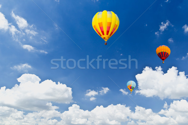 colorful hot air balloons in blue sky Stock photo © tungphoto