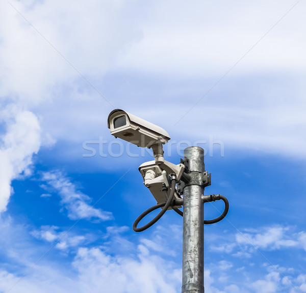 surveillance camera against blue sky Stock photo © tungphoto