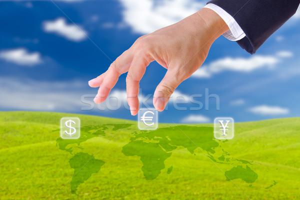 üzletember kéz felfelé Euro felirat gomb Stock fotó © tungphoto