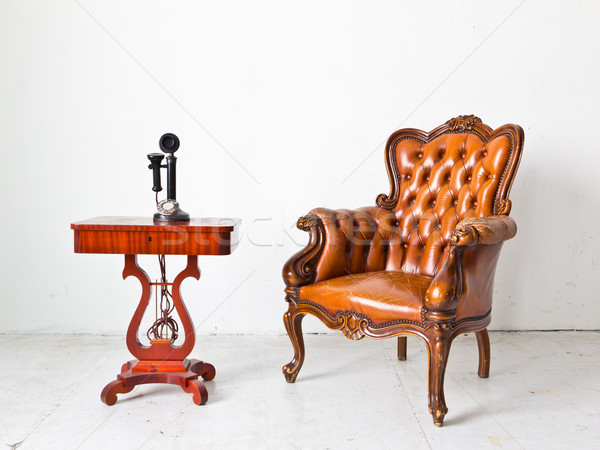 vintage luxury armchair and telephone in white room Stock photo © tungphoto
