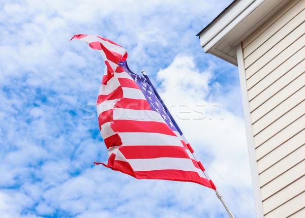 ストックフォト: アメリカンフラグ · 青空 · 背景 · フラグ · 星 · 波