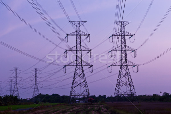 электрических высокое напряжение власти пост небе технологий Сток-фото © tungphoto