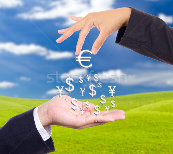 hand bring up big euro sign Stock photo © tungphoto