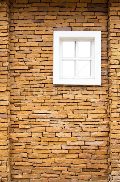 Witte venster stenen muur gebouw hout muur Stockfoto © tungphoto