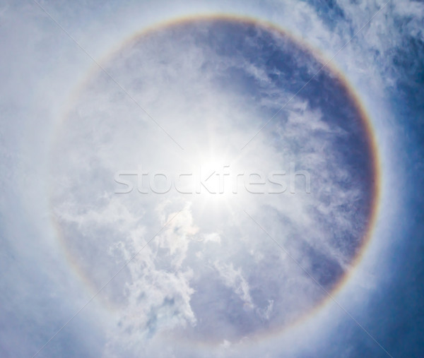 Corona on blue sky, the sun with the ring Stock photo © tungphoto