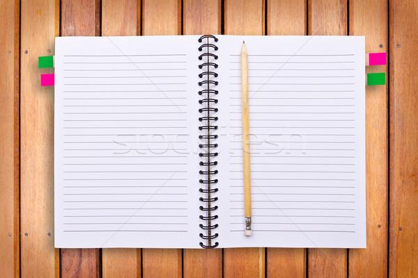 ноутбук карандашом древесины служба книга школы Сток-фото © tungphoto