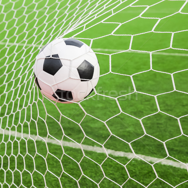 soccer ball in the goal net Stock photo © tungphoto
