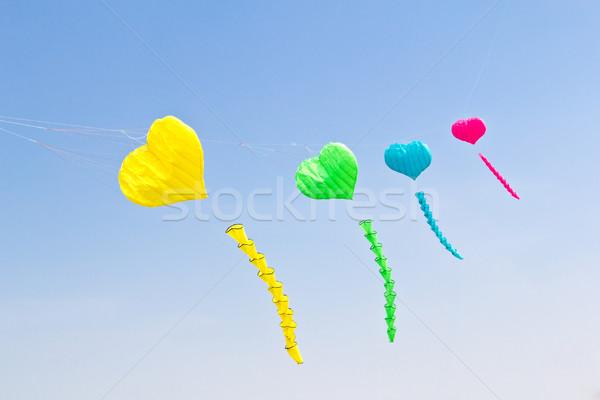 красочный любви сердце кайт Blue Sky небе Сток-фото © tungphoto