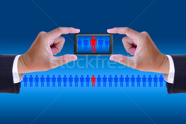 hand and mobile recruitment right man ,human resource concept Stock photo © tungphoto