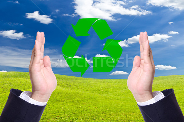 business man hand and recycle sign for green world concept Stock photo © tungphoto