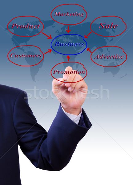 business man hand writing business diagram Stock photo © tungphoto