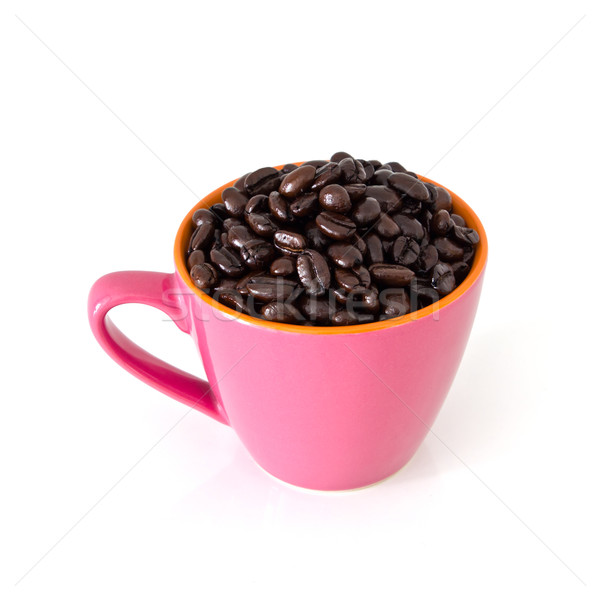 coffee beans in pink cup Stock photo © tungphoto