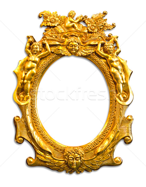 Foto stock: Dourado · escultura · quadro · isolado · madeira
