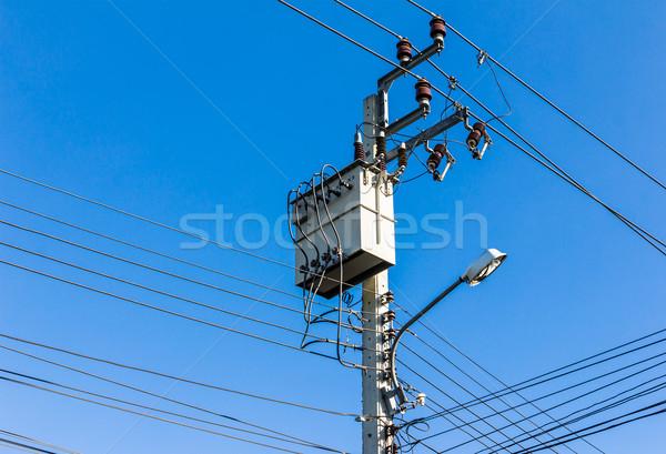 Eletricidade alta tensão transformador blue sky tecnologia quadro Foto stock © tungphoto