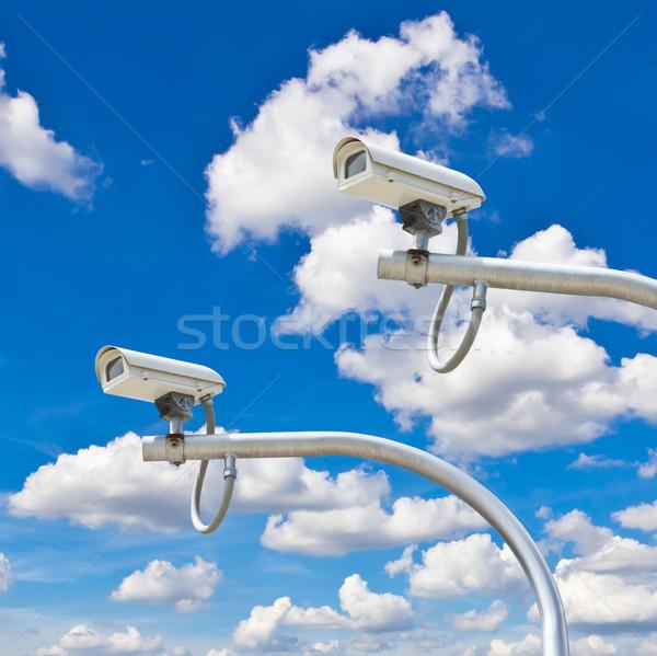 outdoor cctv cameras against blue sky Stock photo © tungphoto