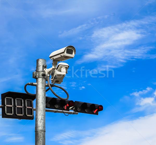 Stock fotó: Megfigyelés · kamera · jelzőlámpa · kék · ég · égbolt · technológia