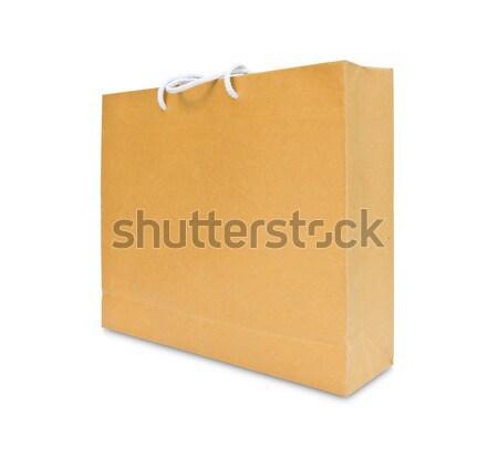 Papel pardo bolsa de compras isolado papel saco armazenar Foto stock © tungphoto