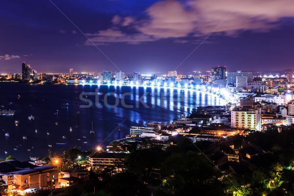 pattaya city at morning bird eye view Stock photo © tungphoto