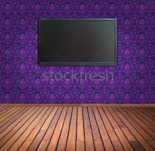 широкий экране телевидение Purple обои комнату Сток-фото © tungphoto