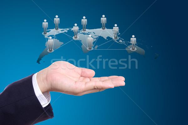 ストックフォト: 社会的ネットワーク · 手 · 男 · ネットワーク · 青 · グループ
