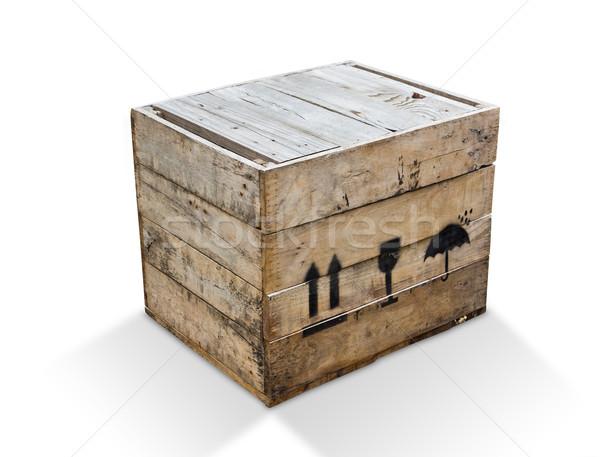 Fa doboz izolált vágási körvonal hajó kocka Stock fotó © tungphoto