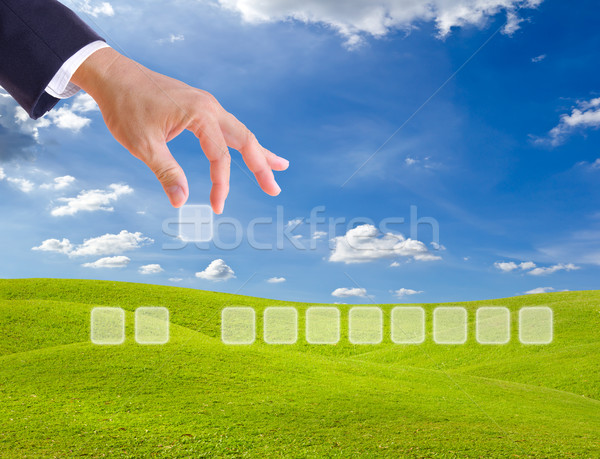 hand bring up blank button for add any word Stock photo © tungphoto