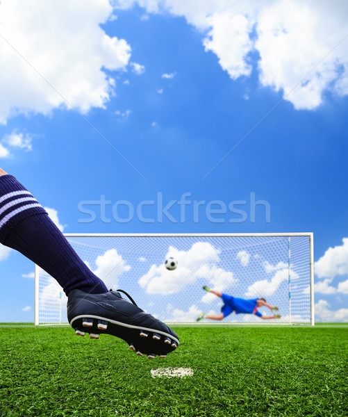 foot shooting soccer ball to goal, penalty Stock photo © tungphoto