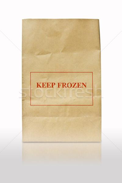 грубая оберточная бумага сумку заморожены знак собака магазин Сток-фото © tungphoto