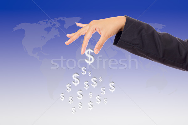 hand bring up big dollar sign Stock photo © tungphoto