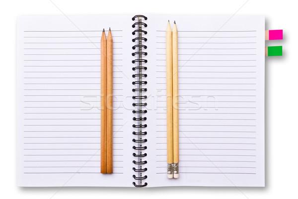 Fehér notebook ceruzák izolált iroda könyv Stock fotó © tungphoto
