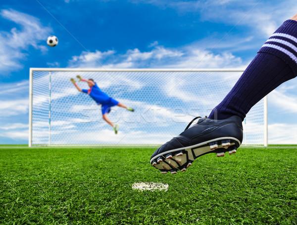 Láb lövöldözés futballabda ki gól futball Stock fotó © tungphoto