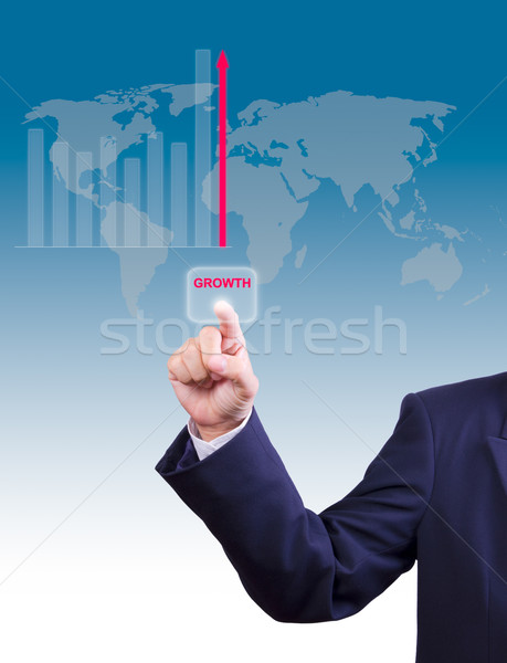 business man hand pushing growth button for business growth grap Stock photo © tungphoto