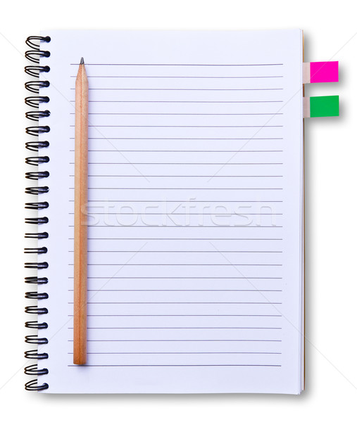 white notebook and pencil isolated Stock photo © tungphoto
