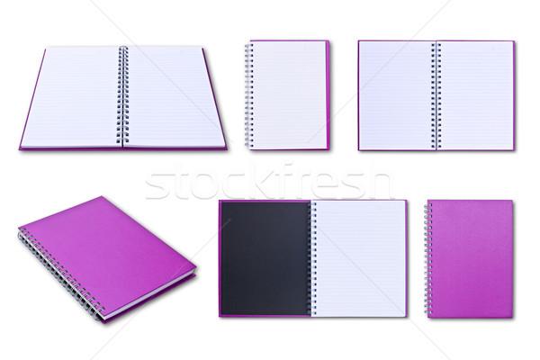Fioletowy notebooka odizolowany biały biuro książki Zdjęcia stock © tungphoto