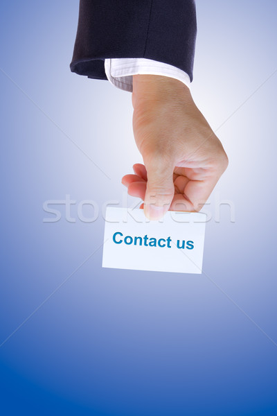 hand holding contact us card  Stock photo © tungphoto