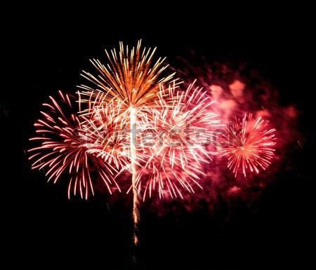 Tűzijáték fekete égbolt füst csillagok zöld Stock fotó © tungphoto